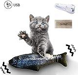 Qsnn Katzenspielzeug Fisch Elektrisch, Tanzender Fisch USB Katze Spielzeug mit Katzenminze für Katze Kätzchen, Interaktives katzenspielzeug Zappelnder Fisch zu...