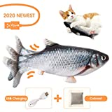 Charminer Elektrisch Spielzeug Fisch, Katze Interaktive Spielzeug USB Elektrische Plüsch Fisch Kicker Katzenspielzeug mit Katzenminze Kauen Spielzeug für Katze zu...