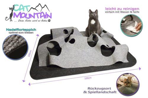 CatMountain - 2 in 1 - Katzenspielzeug und Kratzmatte in einem