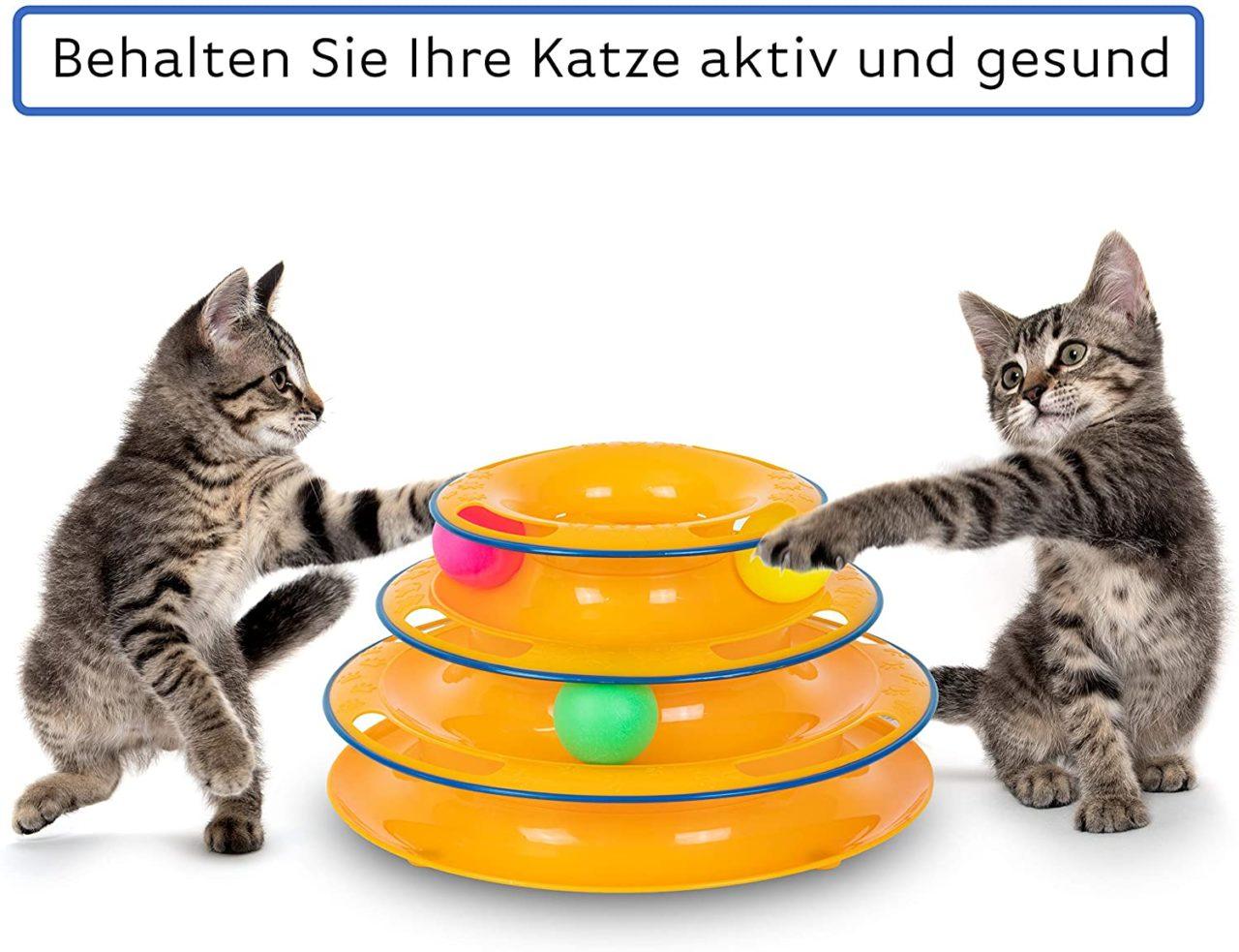 Dreifache Kugelbahn zur Beschäftigung für die Katze - interaktives Katzenspielzeug